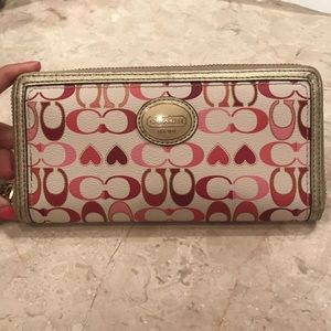 Coach Heart Zippered Wallet